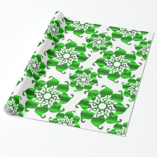 floral circles green pattern with leaves wrapping paper