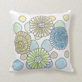 """Floral & Circles Throw Pillow 16""""x16"""""""