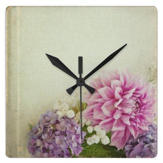 Floral Clock - pink and lavendar