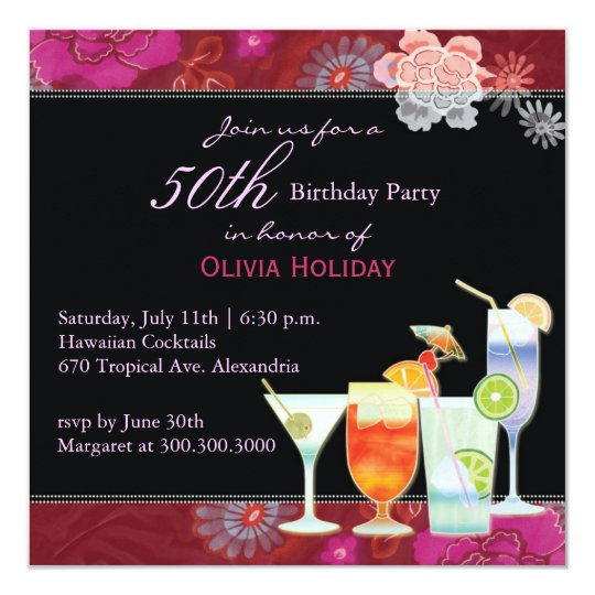 Floral Cocktails 50th Birthday Party Card
