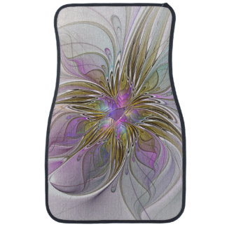 Floral Colorful Abstract Fractal With Pink & Gold Car Mat