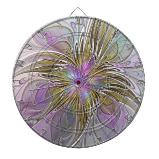 Floral Colorful Abstract Fractal With Pink & Gold Dartboard
