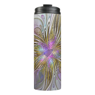 Floral Colorful Abstract Fractal With Pink & Gold Thermal Tumbler