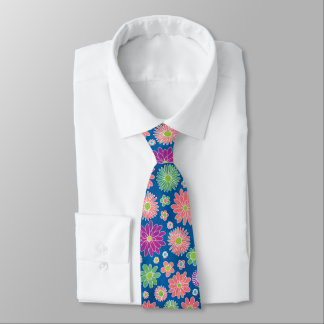 Floral Colorful Daisies Tie