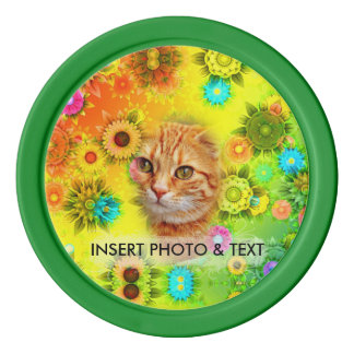 Floral Colorful Mosaic - Green Flowers, Cat, Chip Poker Chips
