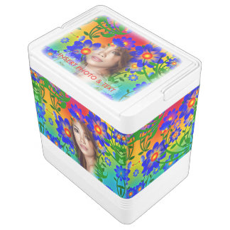 Floral Colorful Mosaic - Green, Flowers, Cooler Igloo Cool Box