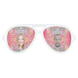 Floral Colorful Mosaic - Red Pink Fuchsia, Aviator Sunglasses