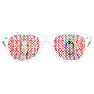 Floral Colorful Mosaic - Red Pink, Retro SunGlass