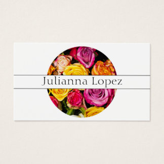 Floral Colorful Roses Flowers Feminine Business Card