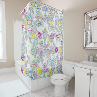 Floral, colorful shower curtain