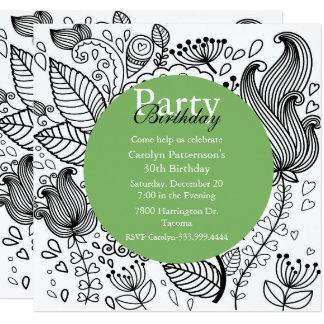 Floral Coloring Doodle Art Party Invitation