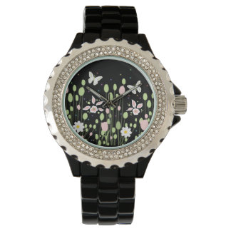 floral composition with butterflies wristwatch