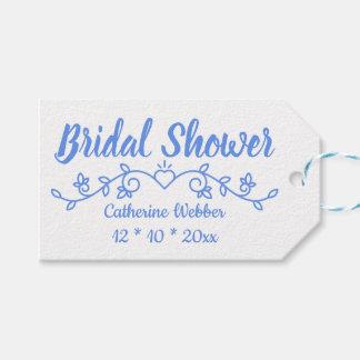 Floral Cornflower Blue Bridal Shower Flower Laurel Gift Tags