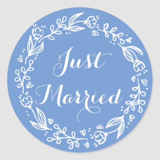 Floral Cornflower Blue Just Married Wedding Flower Classic Round Sticker