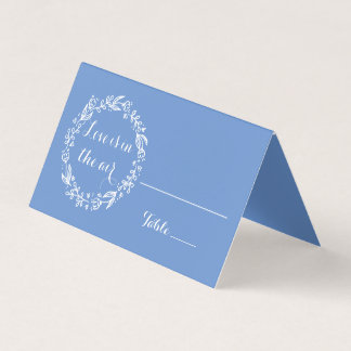 Floral Cornflower Blue Wedding Flower Escort Card