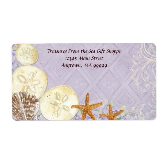 Floral Cottage by the Sea Shells Beachy Wedding Shipping Label