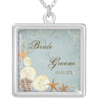 Floral Cottage by the Sea Shells Beachy Wedding Silver Plated Necklace