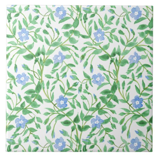 Floral Country-style Blue White Periwinkle Pattern Tile