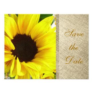 Floral Country Sunflower Modern Rustic Burlap Custom Invitation