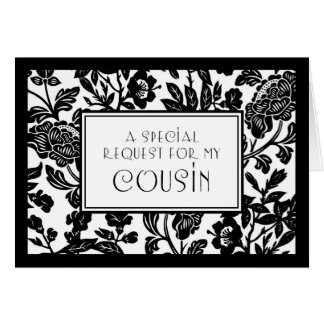 Floral Cousin Maid of Honor Invitation Card