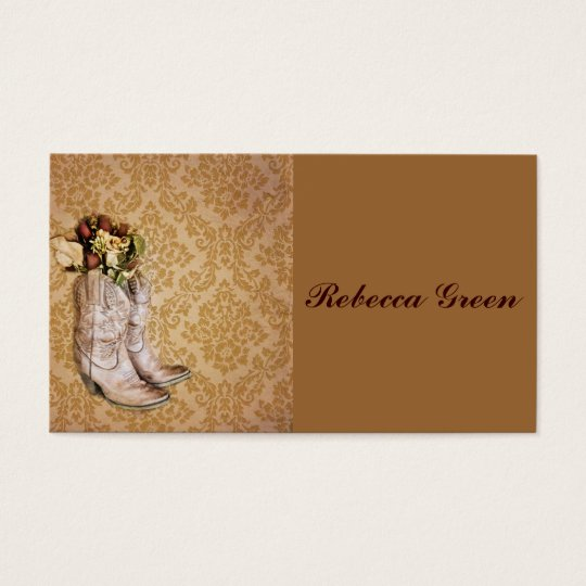 floral cowboy boots western country wedding business card