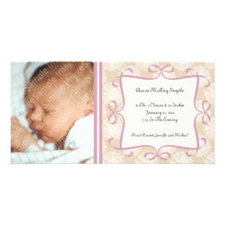 Floral Cream and Pink New Baby Photo Cards