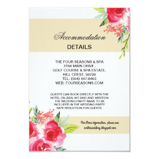 floral Cream Stripe Accommodation Wedding Cards