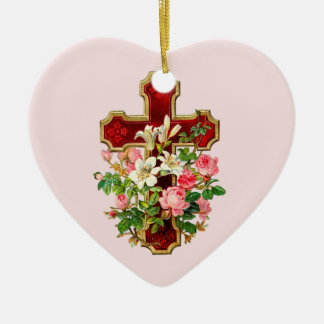 Floral Cross Christmas Ornament