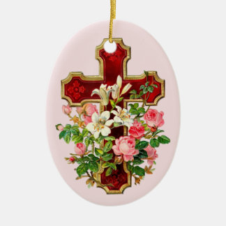 Floral Cross Christmas Ornament