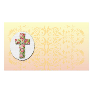 Floral Cross Creamy Peach Damask Template Business Pack Of Standard Business Cards