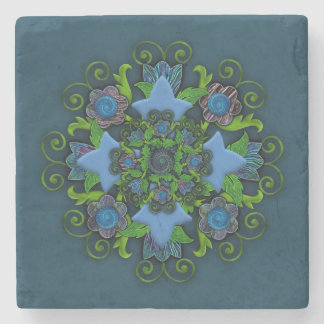 Floral Cross Motif Stone Coaster