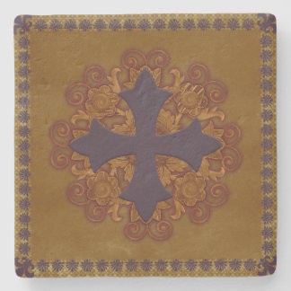 Floral Cross Motif - Warm Stone Coaster