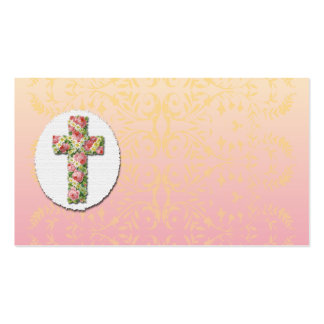 Floral Cross Peach Damask Template Business Card