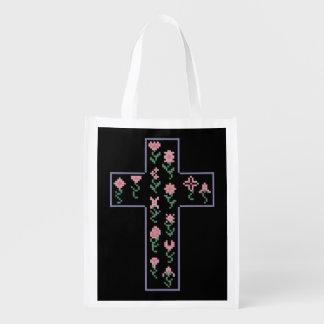 Floral Cross Grocery Bag