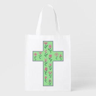 Floral Cross Reusable Grocery Bag