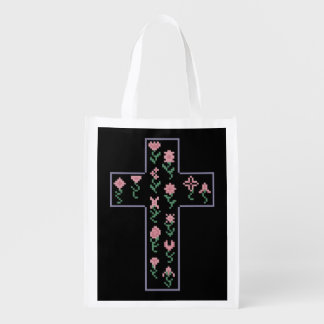 Floral Cross Reusable Grocery Bag