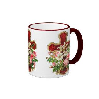 Floral Cross Ringer Mug