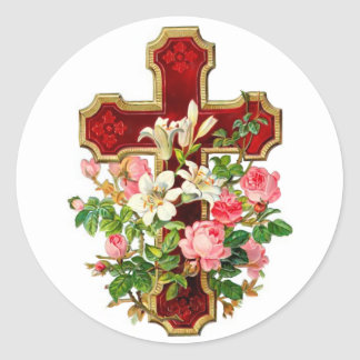 Floral Cross Round Sticker