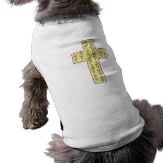 Floral Cross Sleeveless Dog Shirt