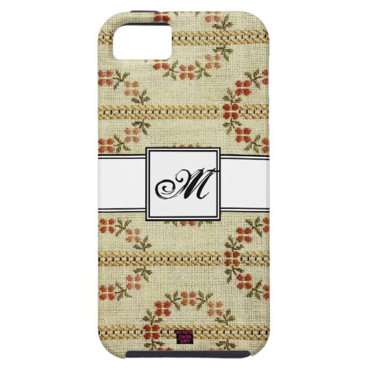 Floral Cross-stitch Embroidery Pattern w/ Monogram iPhone 5