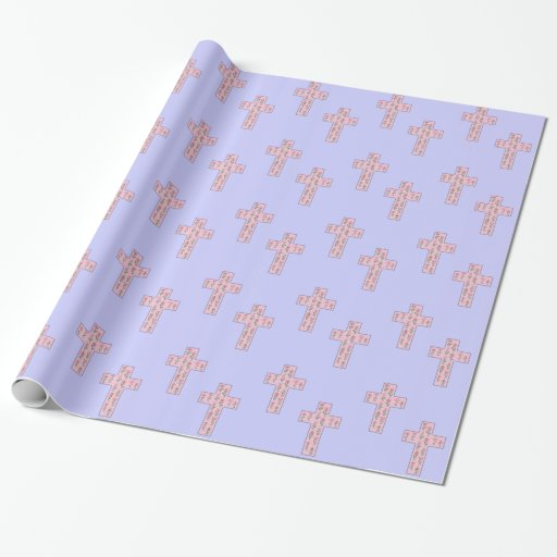 Floral Cross Gift Wrapping Paper