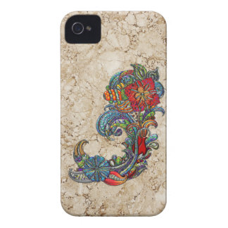 Floral Curls Abstract Modern Art iPhone 4 Case-Mate Cases