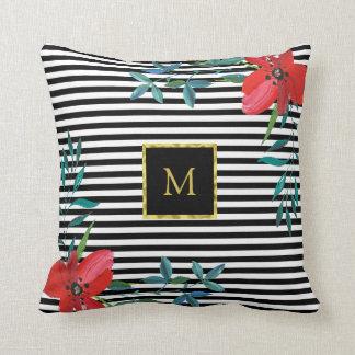 Floral Custom Faux Gold Monogram | Black and White Cushion