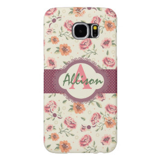 Floral Custom Monogram Samsung Galaxy S6 Cases