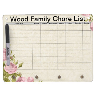 Floral customized family chore list dry erase board with key ring holder