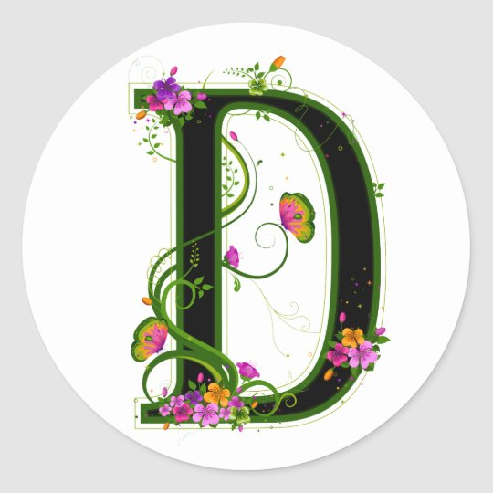 Floral D Classic Round Sticker