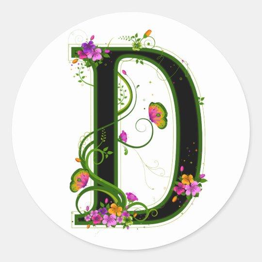 Floral D Round Sticker