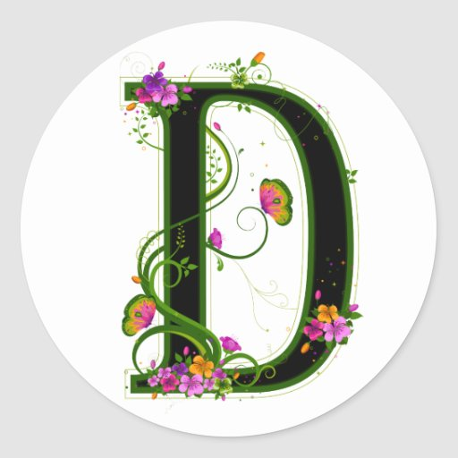 Floral D Sticker