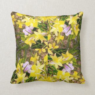 Floral daffodil yellow green flower cushion