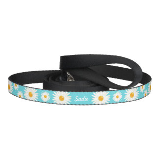 Floral Daisy Flowers On Blue And Pet's Own Name Dog Lead